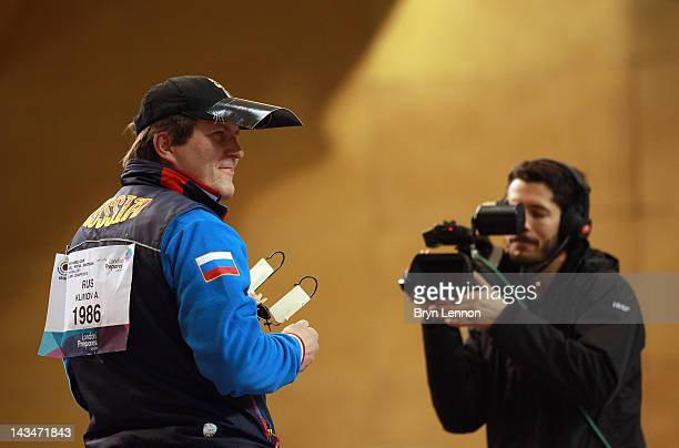 Alexei Klimov of Russia celebrates winning the Men's 25m Rapid Fire Pistol competition on day nine of the ISSF Shooting World Cup LOCOG Test Event...