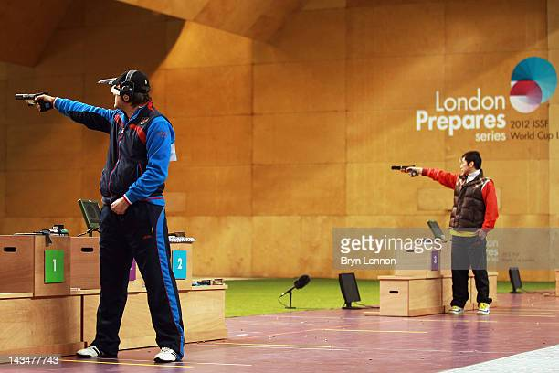 Alexei Klimov of Russia won the Men's 25m Rapid Fire Pistol competition on day nine of the ISSF Shooting World Cup LOCOG Test Event for London 2012...