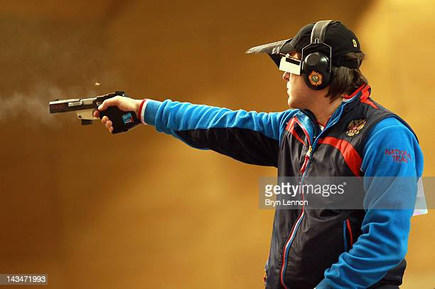 Alexei Klimov of Russiain action during the Men's 25m Rapid Fire Pistol competition on day nine of the ISSF Shooting World Cup LOCOG Test Event for...