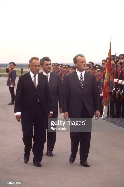Alexei Kosygin welcoming Willy Brandt with military honors at Moscow Airport, August 1970.