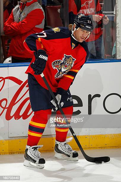 Alexei Kovalev of the Florida Panthers skates prior to the game against the Winnipeg Jets at the BBT Center on January 31 2013 in Sunrise Florida The...
