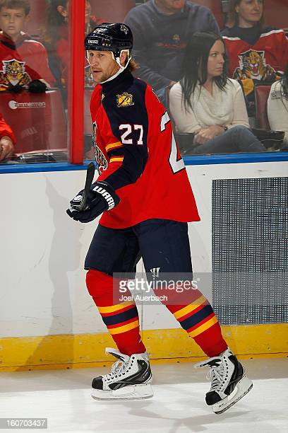 Alexei Kovalev of the Florida Panthers warms up prior to the game against the Winnipeg Jets at the BBT Center on January 31 2013 in Sunrise Florida...