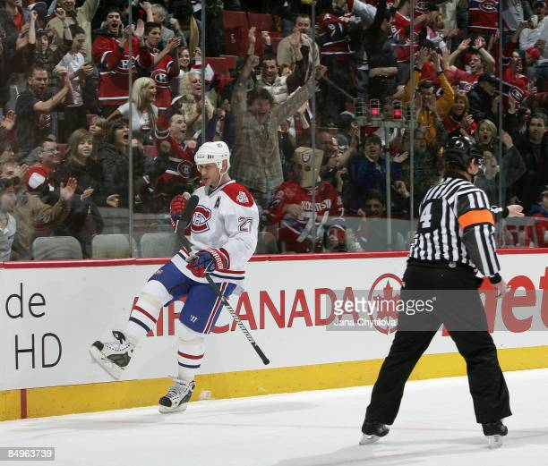 Alexei Kovalev of the Montreal Canadiens celebrates his goal against the Ottawa Senators at Bell Centre on February 21 2009 in Montreal Quebec Canada
