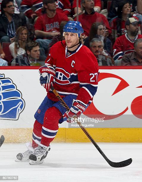 Alexei Kovalev of the Montreal Canadiens skates against the Boston Bruins during game five of the 2008 NHL conference quarterfinal series at the Bell...