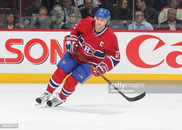 Alexei Kovalev of the Montreal Canadiens skates against the Buffalo Sabres at the Bell Centre on April 3 2008 in Montreal Quebec Canada