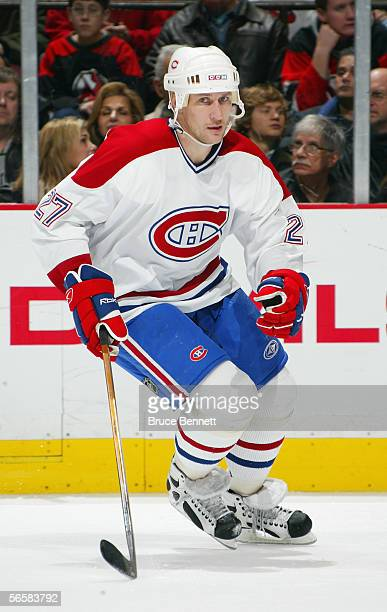 Alexei Kovalev of the Montreal Canadiens skates against the New Jersey Devils at the Continental Airlines Arena on January 5 2006 in East Rutherford...