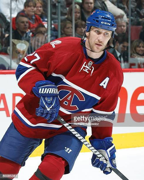 Alexei Kovalev of the Montreal Canadiens skates during the NHL game against the Toronto Maple Leafs at the Bell Centre on March 21 2009 in Montreal...