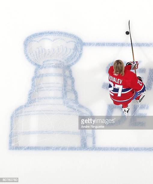 Alexei Kovalev of the Montreal Canadiens skates over the Stanley Cup Playoffs logo during warmups prior to a game against the Boston Bruins in game...
