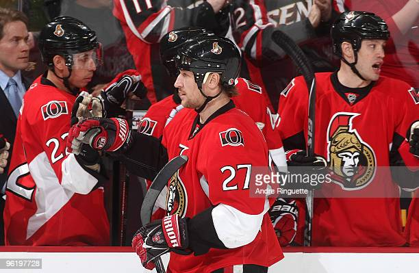 Alexei Kovalev of the Ottawa Senators celebrates his first period goal against the New Jersey Devils at Scotiabank Place on January 26 2010 in Ottawa...