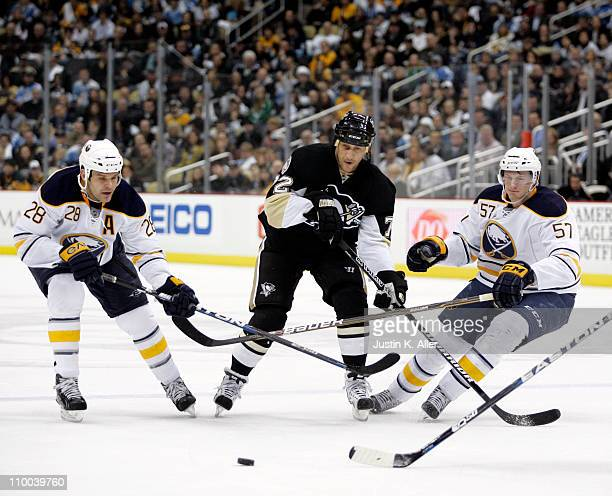 Alexei Kovalev of the Pittsburgh Penguins skates against the Buffalo Sabres at Consol Energy Center on March 8 2011 in Pittsburgh Pennsylvania The...