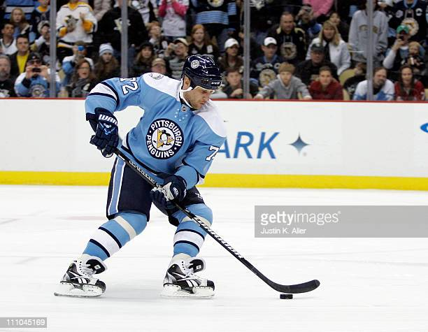 Alexei Kovalev of the Pittsburgh Penguins skates against the Florida Panthers at Consol Energy Center on March 27 2011 in Pittsburgh Pennsylvania The...