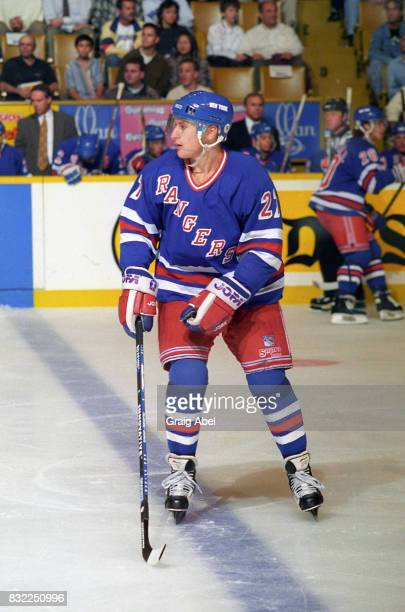 Alexei Kovalev of the the New York Rangers watches the play develop against the Toronto Maple Leafs during NHL game action on October 14 1995 at...