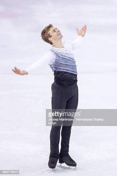 Alexei Krasnozhon of the United States competes during the Junior Men Short Program on day one of the ISU Junior Grand Prix of Figure Skating on...