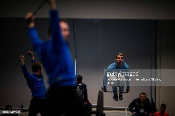 Alexei Krasnozhon of the United States warms up in the Men's Free Skating during day 2 of the ISU Grand Prix of Figure Skating Rostelecom Cup 2018 at...