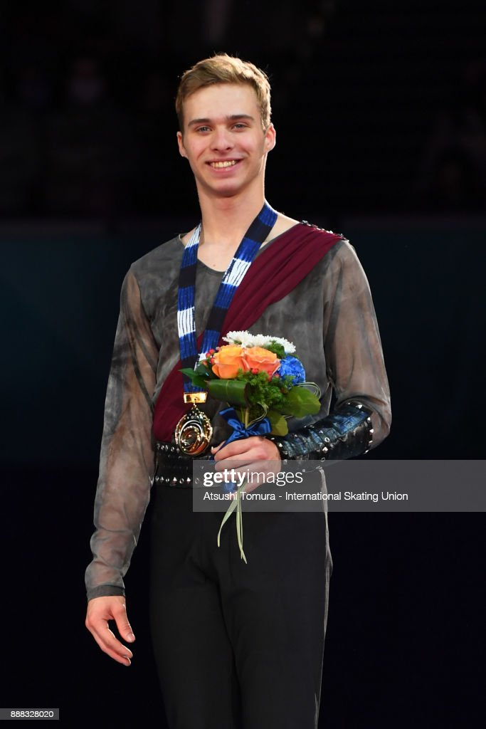 Alexei Krasnozhon of the USA (gold) poses on the podium after competing in the junior men free skating during the ISU Junior & Senior Grand Prix of Figure Skating Final at Nippon Gaishi Hall on December 8, 2017 in Nagoya, Japan.