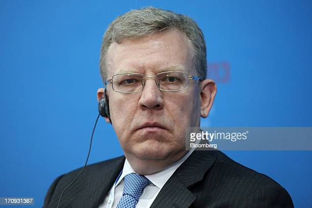 Alexei Kudrin former Russian finance minister pauses during a conference session on the opening day of the St Petersburg International Economic Forum...