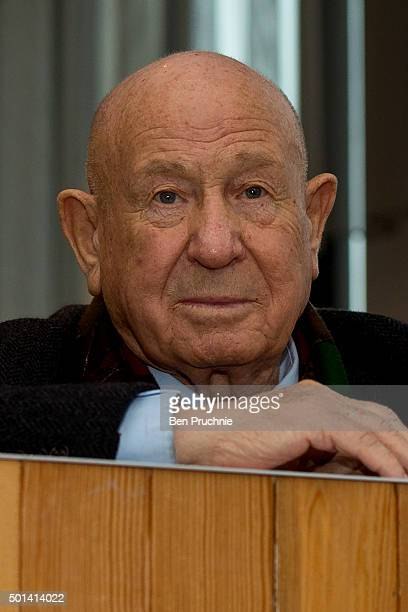 Alexei Leonov listens to Danish astronaut Andreas Mogensen speak at the London Science Museum ahead of the launch of space mission Principia on...