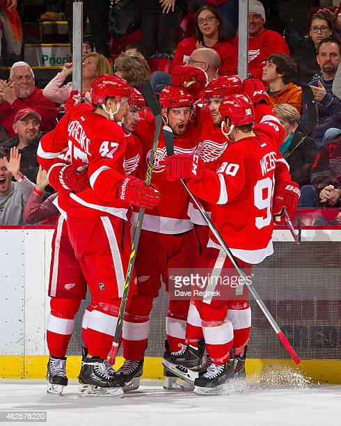 Alexei Marchenko Tomas Jurco Riley Sheahan and Stephen Weiss of the Detroit Red Wings congratulate teammate Brendan Smith after scoring a goal during...