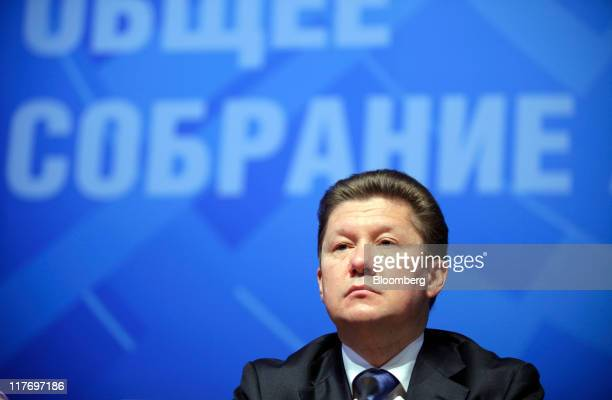 Alexei Miller chief executive officer of OAO Gazprom pauses during the company's annual general meeting of shareholders in Moscow Russia on Thursday...