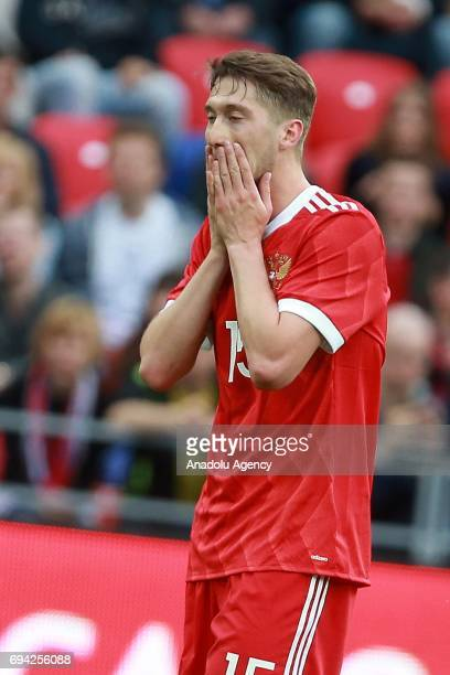Alexei Miranchuk of Russia gestures during the friendly match between Russia and Chile at Veb Arena in Moscow Russia on June 9 2017