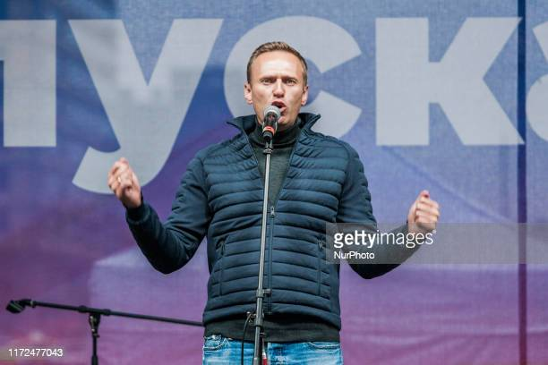 Alexei Navalny gives an speech during a demonstration for the release of the arrested activists during the summer riots in Moscow, on September 29,...