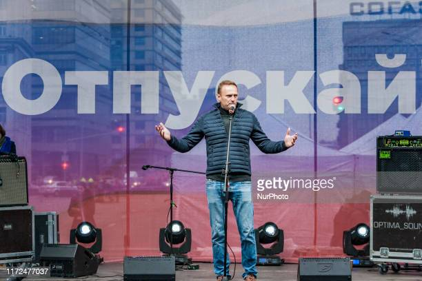 Alexei Navalny, government oppositor, gives an speech during a demonstration for the release of the arrested activists during the summer riots in...