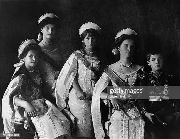 Alexei Nikolaevich Romanov Tsarevich of Russia only son of Russian emperor Nicholas II with his sisters Maria Tatiana Anastasia Olga heir to the...