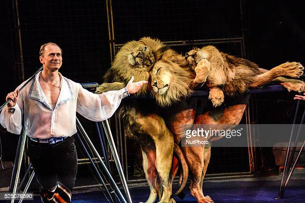 Alexei Pinko and his wife Veronica Pinko are animal trainers of the National Circus of Ukraine who specialize in male lions 7 lions perform in their...
