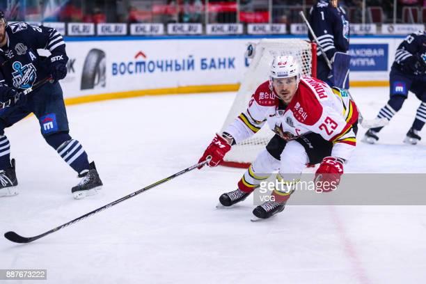 Alexei Ponikarovsky of HC Kunlun Red Star competes during the 2017/18 Kontinental Hockey League KHL Regular Season match between Admiral Vladivostok...