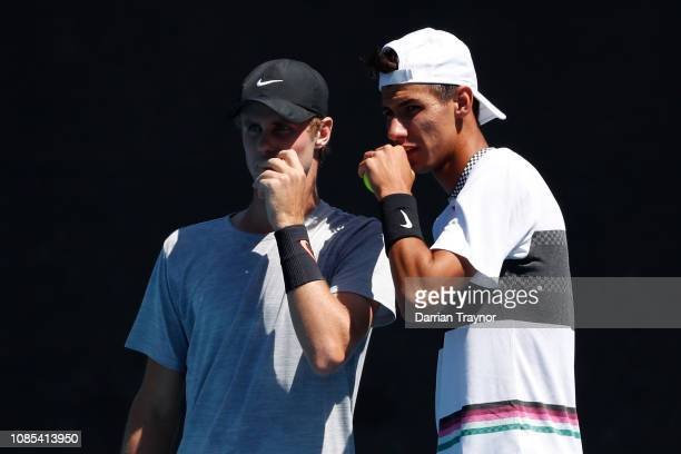 Alexei Popyrin of Australia and Blake Ellis of Australia compete in their Men's Doubles Second round match against Marcelo Arevalo of Spain and Jamie...