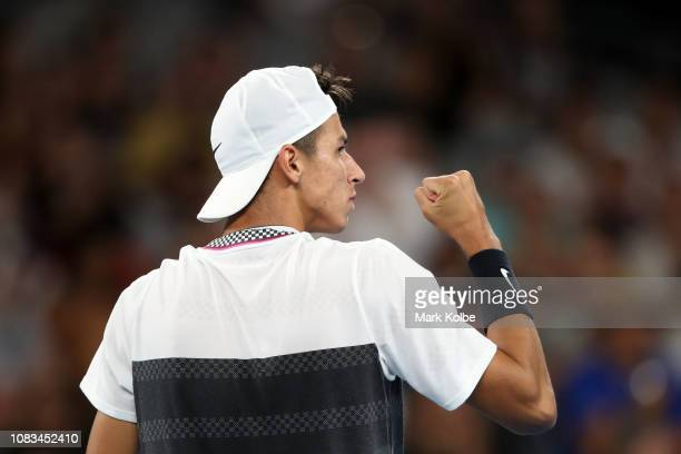 Alexei Popyrin of Australia celebrates a point in his second round match against Dominic Thiem of Austria during day four of the 2019 Australian Open...