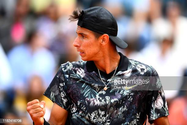 Alexei Popyrin of Australia celebrates during his mens singles second round match against Laso Djere of Serbia during Day four of the 2019 French...