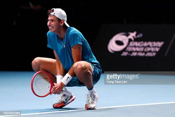 Alexei Popyrin of Australia celebrates match point in his Men's Singles Final match against Alexander Bublik of Kazakhstan on day seven of the...