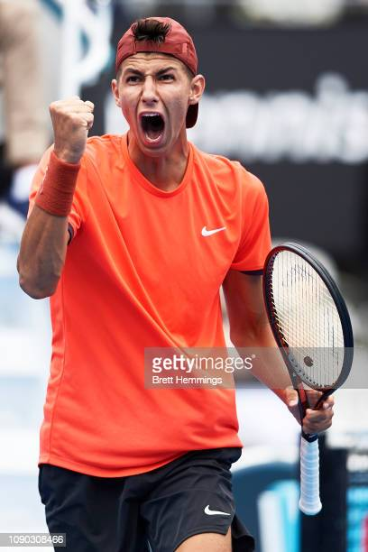 Alexei Popyrin of Australia celebrates winning a point against Martin Klizan of Slovakia during day one of the 2019 Sydney International at Sydney...