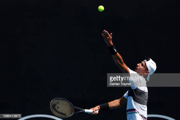 Alexei Popyrin of Australia competes with Blake Ellis of Australia in their Men's Doubles Second round match against Marcelo Arevalo of Spain and...