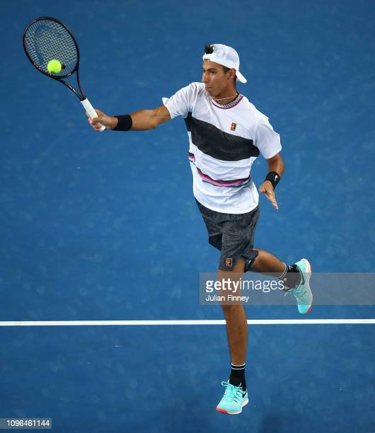 Alexei Popyrin of Australia in action against Lucas Pouille of France during day six of the 2019 Australian Open at Melbourne Park on January 19 2019...