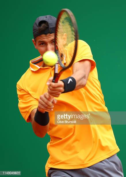Alexei Popyrin of Australia plays a backhand against Gilles Simon of France in their first round match during day 3 of the Rolex MonteCarlo Masters...