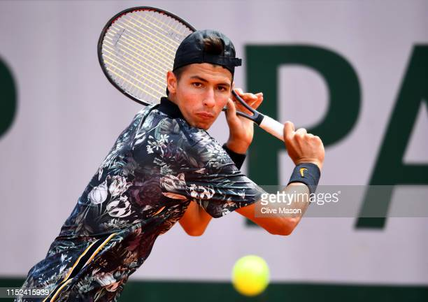 Alexei Popyrin of Australia plays a backhand during his mens singles second round match against Laso Djere of Serbia during Day four of the 2019...