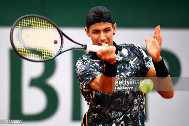 Alexei Popyrin of Australia plays a forehand during his mens singles second round match against Laso Djere of Serbia during Day four of the 2019...
