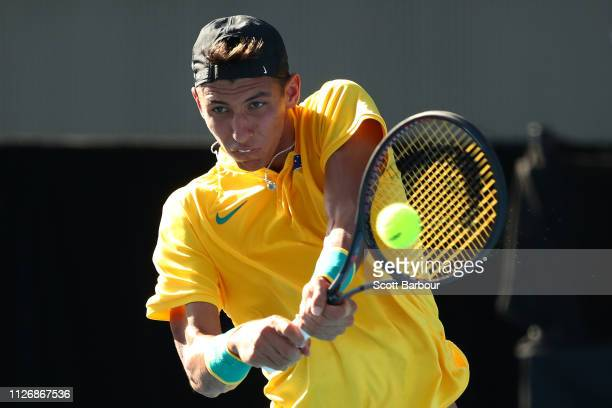 Alexei Popyrin of Australia plays a shot during his rubber 4 singles match against Nerman Fatic of Bosnia / Herzegovina during the Davis Cup...