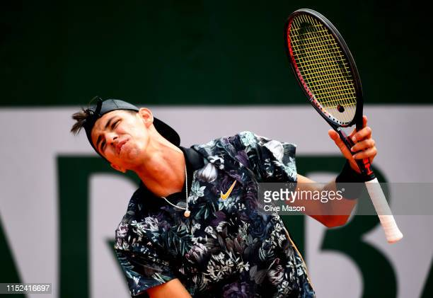Alexei Popyrin of Australia reacts during his mens singles second round match against Laso Djere of Serbia during Day four of the 2019 French Open at...