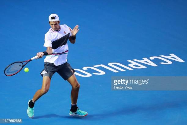 Alexei Popyrin of Australia returns a ball during the match against Alexander Zverev of Germany as part of the day 2 of the Telcel Mexican Open 2019...