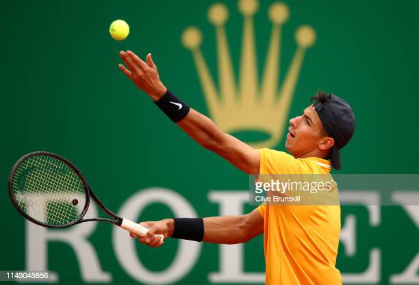 Alexei Popyrin of Australia serves against Gilles Simon of France in their first round match during day 3 of the Rolex MonteCarlo Masters at...