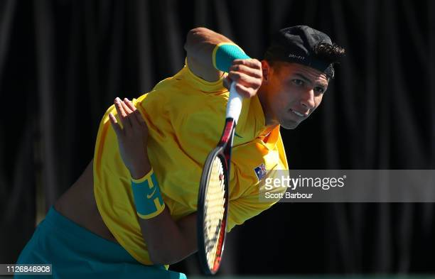 Alexei Popyrin of Australia serves during his rubber 4 singles match against Nerman Fatic of Bosnia / Herzegovina during the Davis Cup Qualifiers...