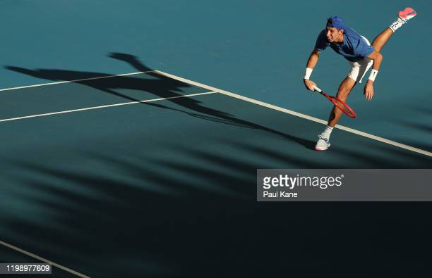 Alexei Popyrin of Australia serves to Laslo Djere of Serbia during day one of the 2020 Adelaide International at Memorial Drive on January 12 2020 in...