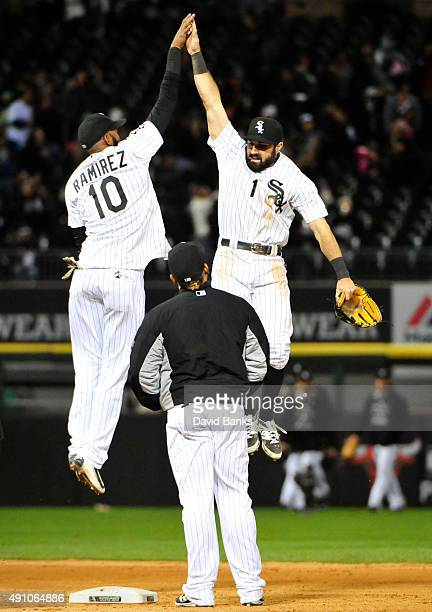 Alexei Ramirez of the Chicago White Sox and Adam Eaton celebrate their win against the Detroit Tigers on October 2 2015 at US Cellular Field in...