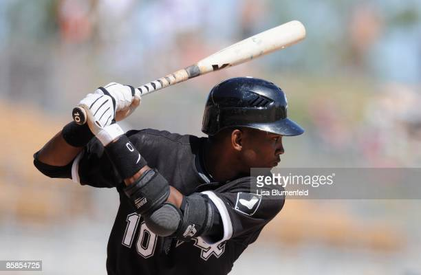 Alexei Ramirez of the Chicago White Sox at bat during a Spring Training game against the Colorado Rockies at Camelback Ranch on March 30 2009 in...