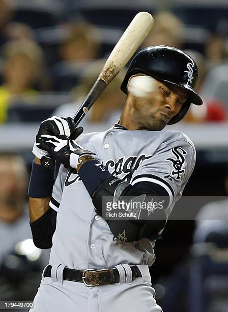 Alexei Ramirez of the Chicago White Sox backs off an inside pitch by pitcher Hiroki Kuroda of the New York Yankees during the fourth inning in a MLB...