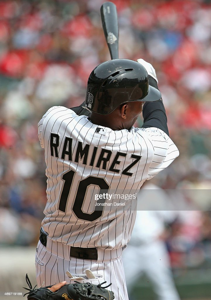 Alexei Ramirez #10 of the Chicago White Sox bats against the Minnesota Twins at U.S. Cellular Field on April 12, 2015 in Chicago, Illinois. The White Sox defeated the Twins 6-2.