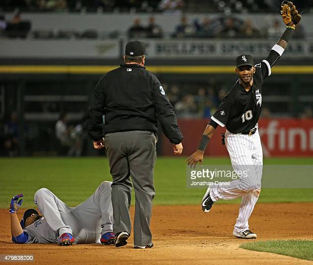 Alexei Ramirez of the Chicago White Sox celebrates after successfully tagging out Edwin Encarnacion of the Toronto Blue Jays in the 9th inning as...